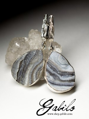 Agate Rose Silver Earrings