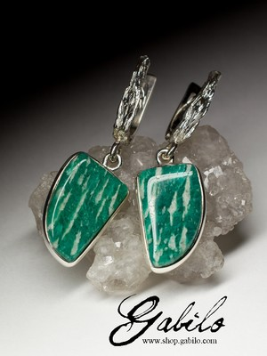 Earrings with amazonite in silver