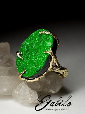 Uvarovite Gold Ring with gem report MSU