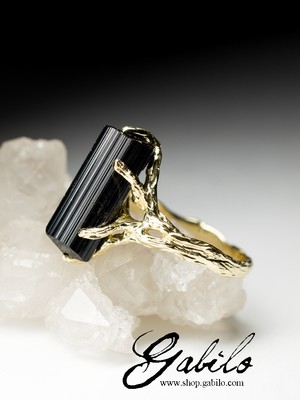 Made to order: Schorl black tourmaline gold ring