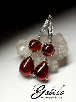 Earrings with Hessonite in silver