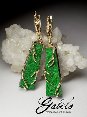 Uvarovite Gold Earrings