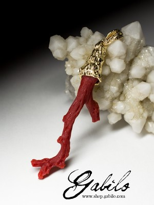 On order: gold pendant with red coral