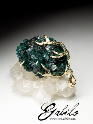 Made to order: Dioptase gold pendant