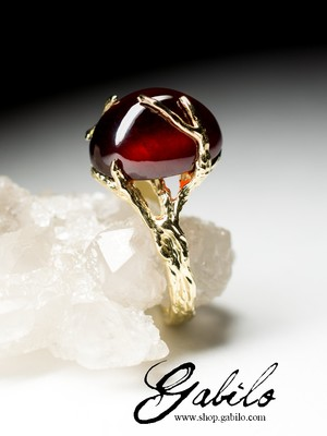 Hessonite Garnet Gold Ring