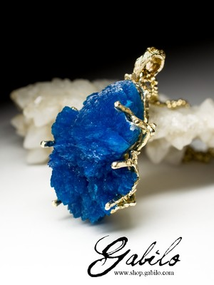 Big Cavansite Gold Pendant with gem report MSU