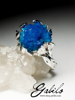 Gold ring with cavansite Art Nouveau style