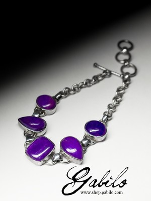 Silver bracelet with sugilite