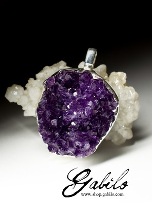 Large silver pendant with amethyst