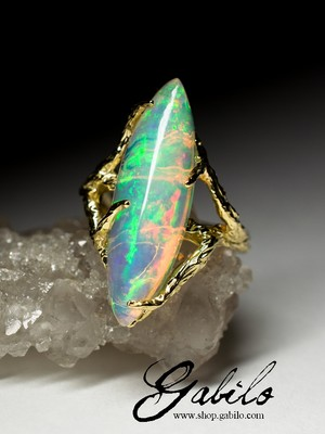 Made to order: Ethiopian opal gold ring