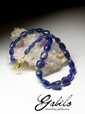 Big Tanzanite Pebble Beaded Necklace