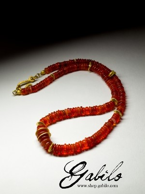 Large beads of fire opal