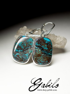 Silver Earrings with Chrysocolla