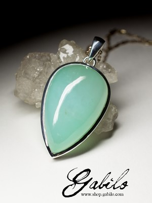 Large pendant with chrysoprase in silver