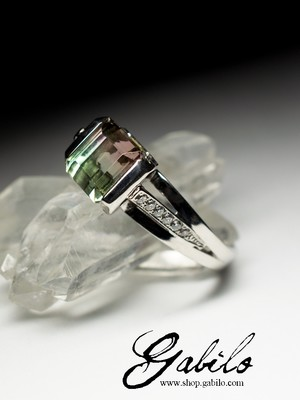 Polychrome Tourmaline and Diamonds Gold Ring