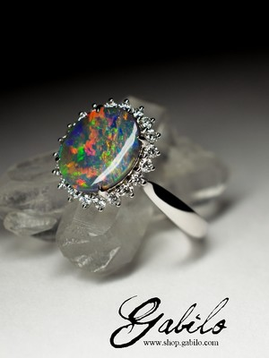 Made to order: Black Opal and Diamonds Gold Ring