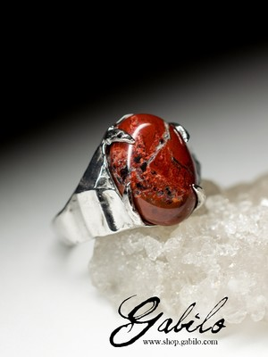 Silver ring with red jasper