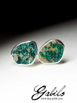Silver earrings pouches with dioptase