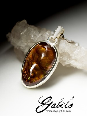 Fire Agate Silver Necklace