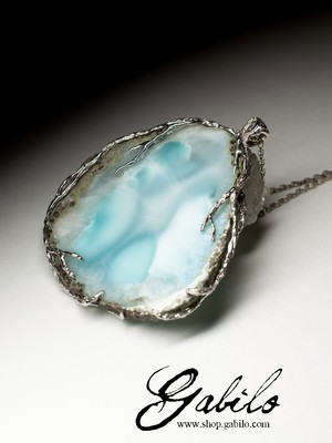 Large silver pendant with a larimar
