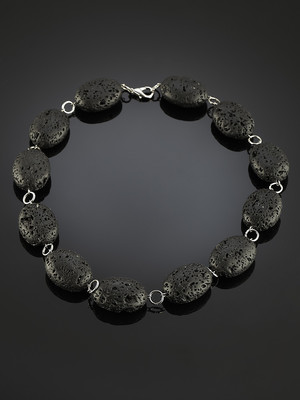 Beads made of volcanic lava