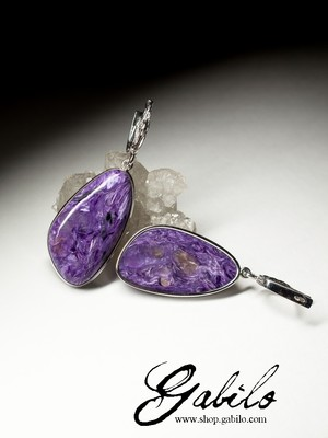 Silver Earrings with Charoite