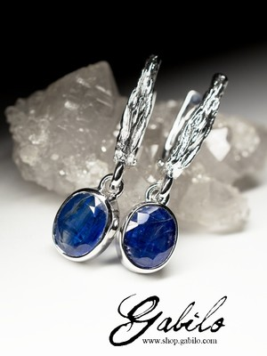 Earrings with kyanite in silver