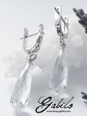 Briolette Cut Rock Crystal Silver Earrings