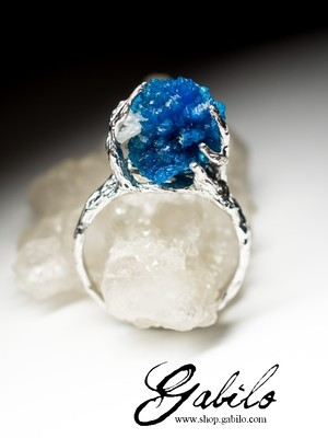 Cavansite Silver Ring