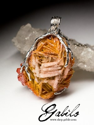 Silver pendant with vanadinite