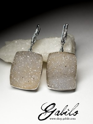 Large silver earrings with quartz