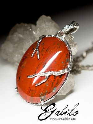 Silver pendant with red jasper