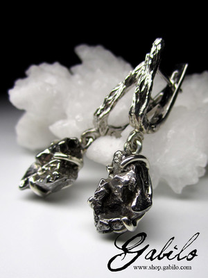 Meteorite silver earrings