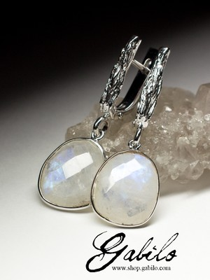 Moonstone adularia silver earrings