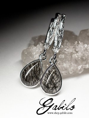 Silver earrings with quartz hairy