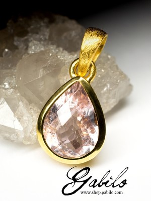 Silver pendant with tourmaline in gilding