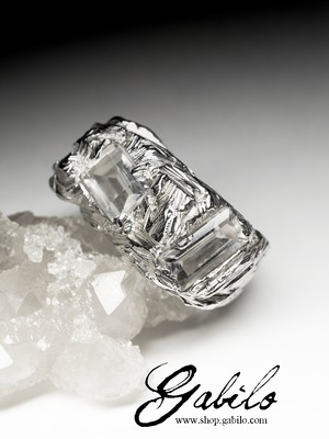 Massive Rock Crystal Silver Ring with gem report MSU