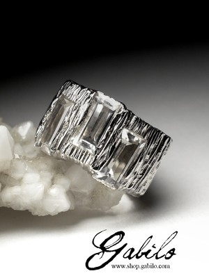 Big Rock Crystal Silver Ring with gem report MSU