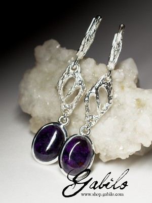 Long silver earrings with sugilite