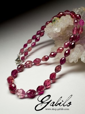 Rubellite Beaded Necklace