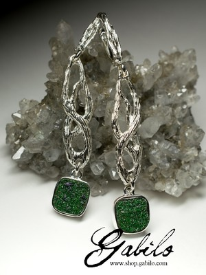 Long Uvarovite Earrings