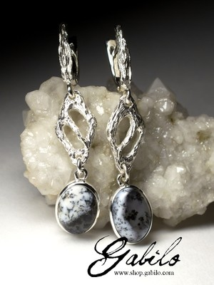 Long silver earrings with moss agate
