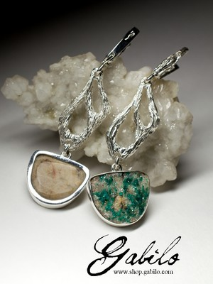 Long silver earrings with dioptase
