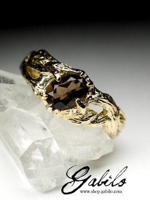 Smoky quartz gold ring with Gem Report MSU