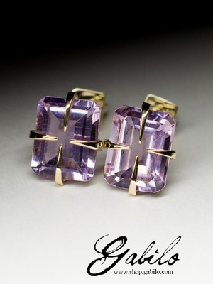 Made to order: Amethyst Gold Stud Earrings with gem report MSU