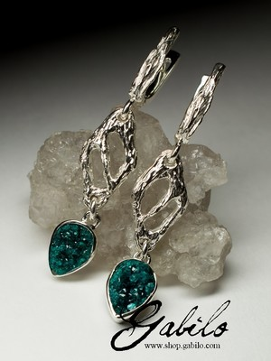 Long Dioptase Silver Earrings