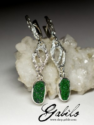 Long silver earrings with uvarovite