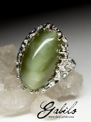 Silver ring with jade with certificate