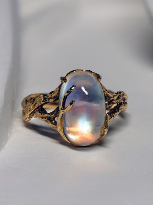 Moonstone adularia gold ring with gem report MSU