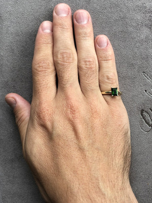 Chrome Diopside Gold Ring